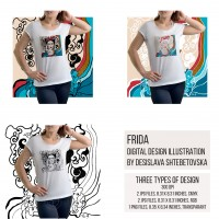 Frida Digital design illustration by Desislava Shtebetovska, T-shirt Design, Digital print for bags, clothes, cups and more