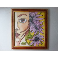 The girl with flowers, 27 / 30 cm, Circulation: Unique;