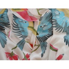 Hand Painted Large Silk Scarf Blue birds and flowers
