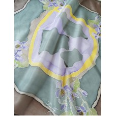 Forest Violets Hand Painted Pure Silk Scarf, Bandana