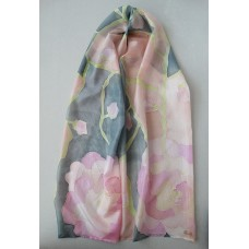 Hand Painted Large Silk Scarf  Gentle roses