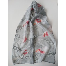 Hand Painted Large Silk Scarf Koi