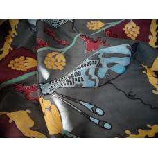 Hand Painted Silk Scarf Two night butterflies