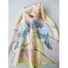 Hand Painted Large Silk Scarf Blue birds and flowers Option 2