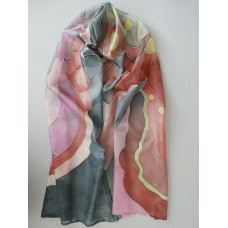 Hand Painted Large Silk Scarf  Red melody