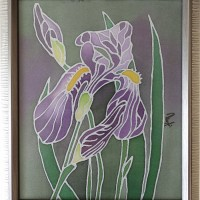 Iris, 25 / 21 cm, Circulation: Unique; Not available, A small painting on natural silk, 25 / 21 cm
