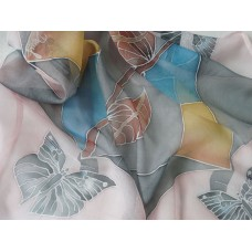 Hand Painted Silk Scarf Butterflies