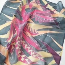 Hand Painted Silk Scarf Phoenix