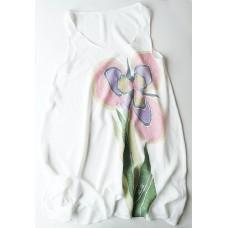 Long women's tunic-dress Iris - Hand-painted natural silk