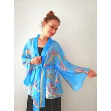 Handpainted Kimono Short, Bohemian Unique Design, Floral Vintage style, Pure Silk Ladies Fashion Blouse