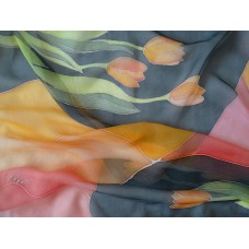 Hand Painted Silk Scarf Tulips