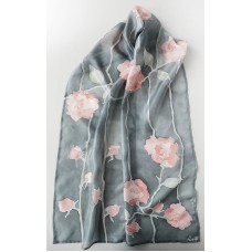 Hand Painted Large Silk Scarf Silver Roses