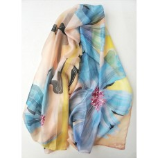 Hand Painted Large Silk Scarf Tenderness