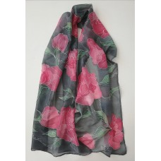 Hand Painted Large Silk Scarf  Red Peonies