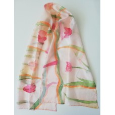 Hand Painted Natural Silk scarf Tulips