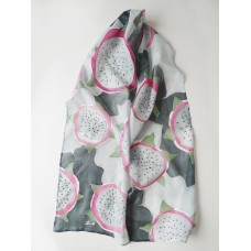 Hand painted large silk scarf Dragon fruit