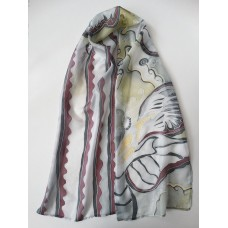Hand Painted Large Silk Scarf Fantasy