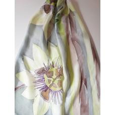 Hand Painted Large Silk Scarf Passiflora caerulea (Blue Passion Flower)