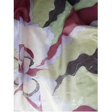Hand painted square scarf in warm colors with floral motifs