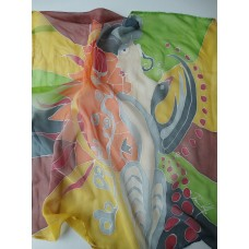 Hand painted pure silk scarf Love