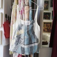 Botique handpainted woman silk tank top Blue bird