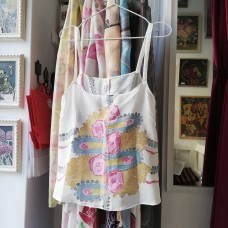 Botique handpainted woman silk tank top Roses Lux Variant 1